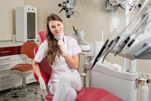 Naked dental hygienist