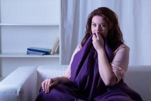 woman wakes from nightmare
